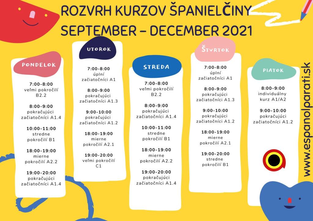 Rozvrh online kurzov španielčiny na jeseň 2021